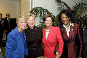 Ferraro (left) marked Women's History Month in March 2003, with Senator Hillary Clinton, House Minority Leader Nancy Pelosi, and opera singer Denyce Graves. Pelosi clinton graves ferraro.jpg