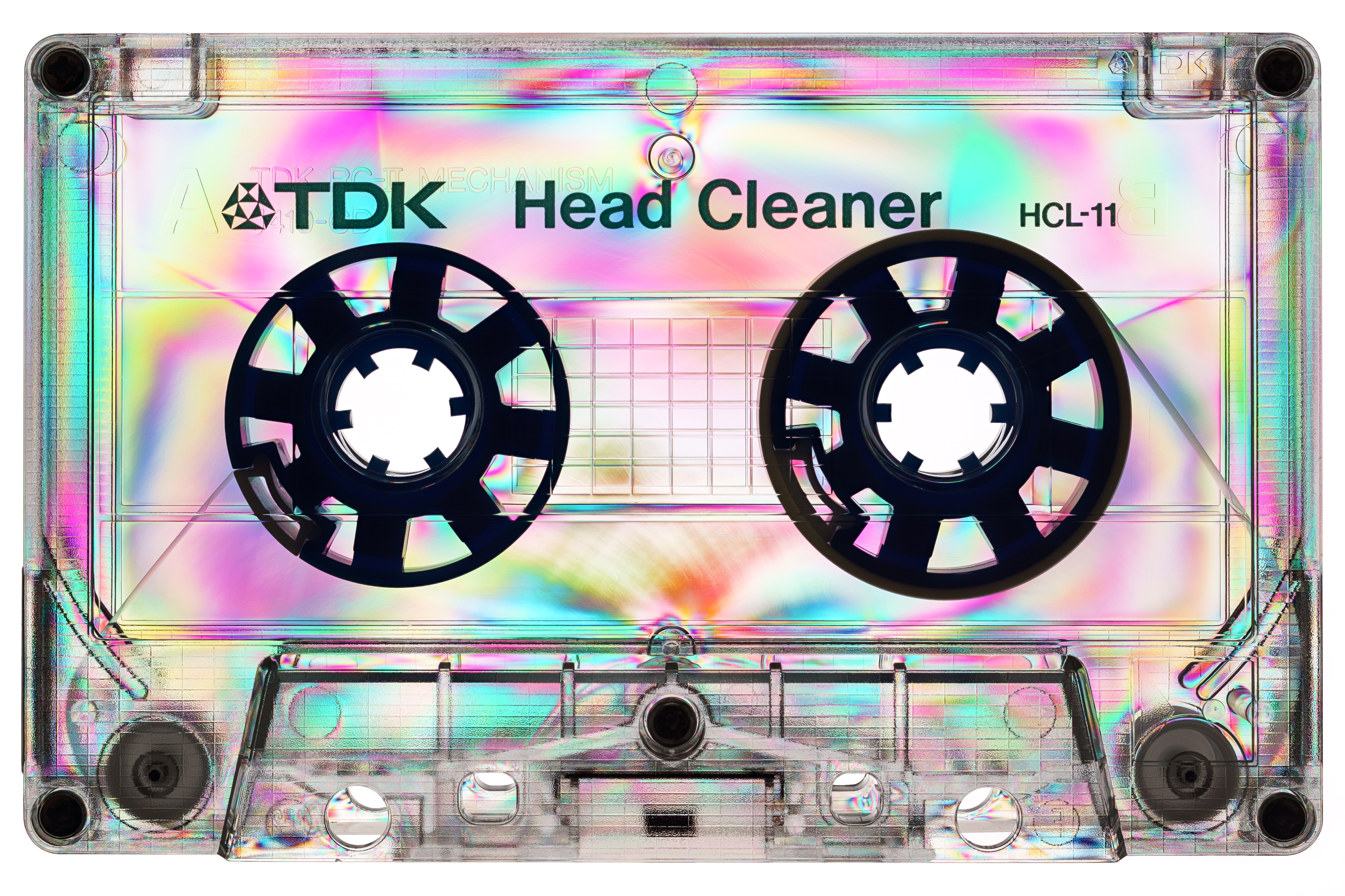Image description: A clear plastic cassette tape with TDK Head Cleaner written on it. Polarization effects have created ripples of rainbow colors throughout the cassette, especially fuchsia and aqua.