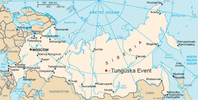 Map of Russian showing the location of the Tunguska explosion