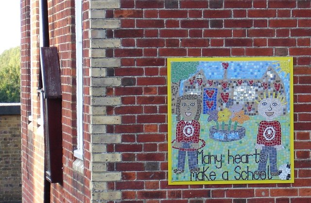 File:School wall mosaic at Leeds, Kent, England.jpg