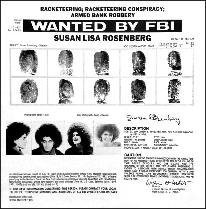 Kjo figurë ka një atribut alt të zbrazët; emri i kartelës për të është Susan_Rosenberg_Wanted_Poster.jpg