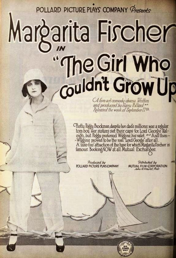 Advertisement for the American comedy film The Girl Who Couldn't Grow Up (1917) with Margarita Fischer, on page 4 of the September 22, 1917 Exhibitors Herald.