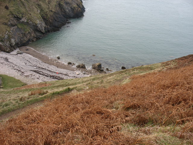The beach at the head of Porth Llanlleiana from Dinas Gynfor - geograph.org.uk - 1111864