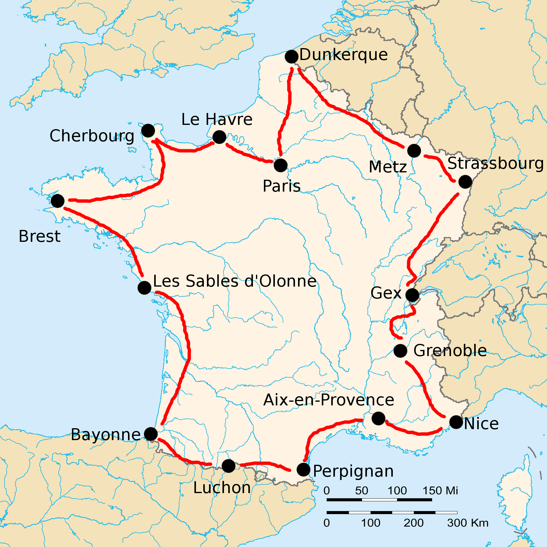 Map Of France Le Havre.1920 Tour De France Wikipedia