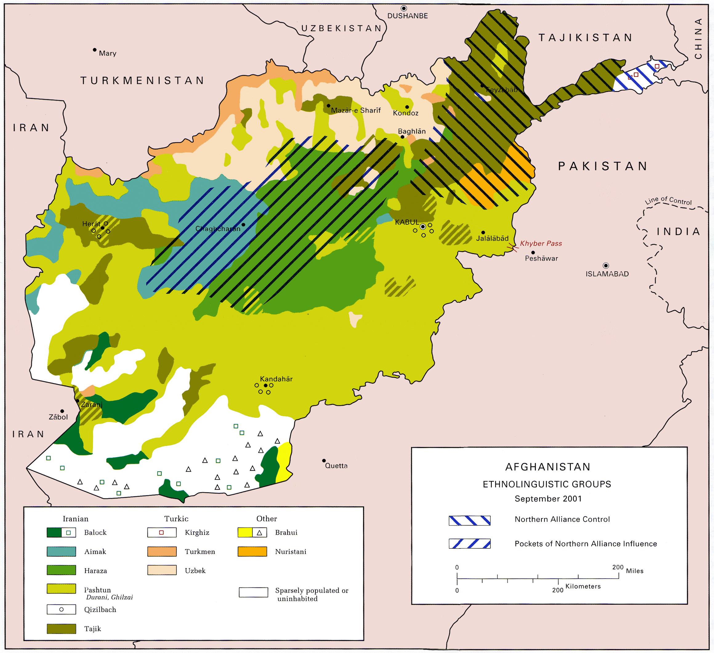 Description US Army ethnolinguistic map of Afghanistan -- circa 2001 ...