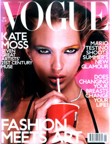 Moss on the cover of the May 2000 UK edition of Vogue magazine, photographed by Sarah Morris