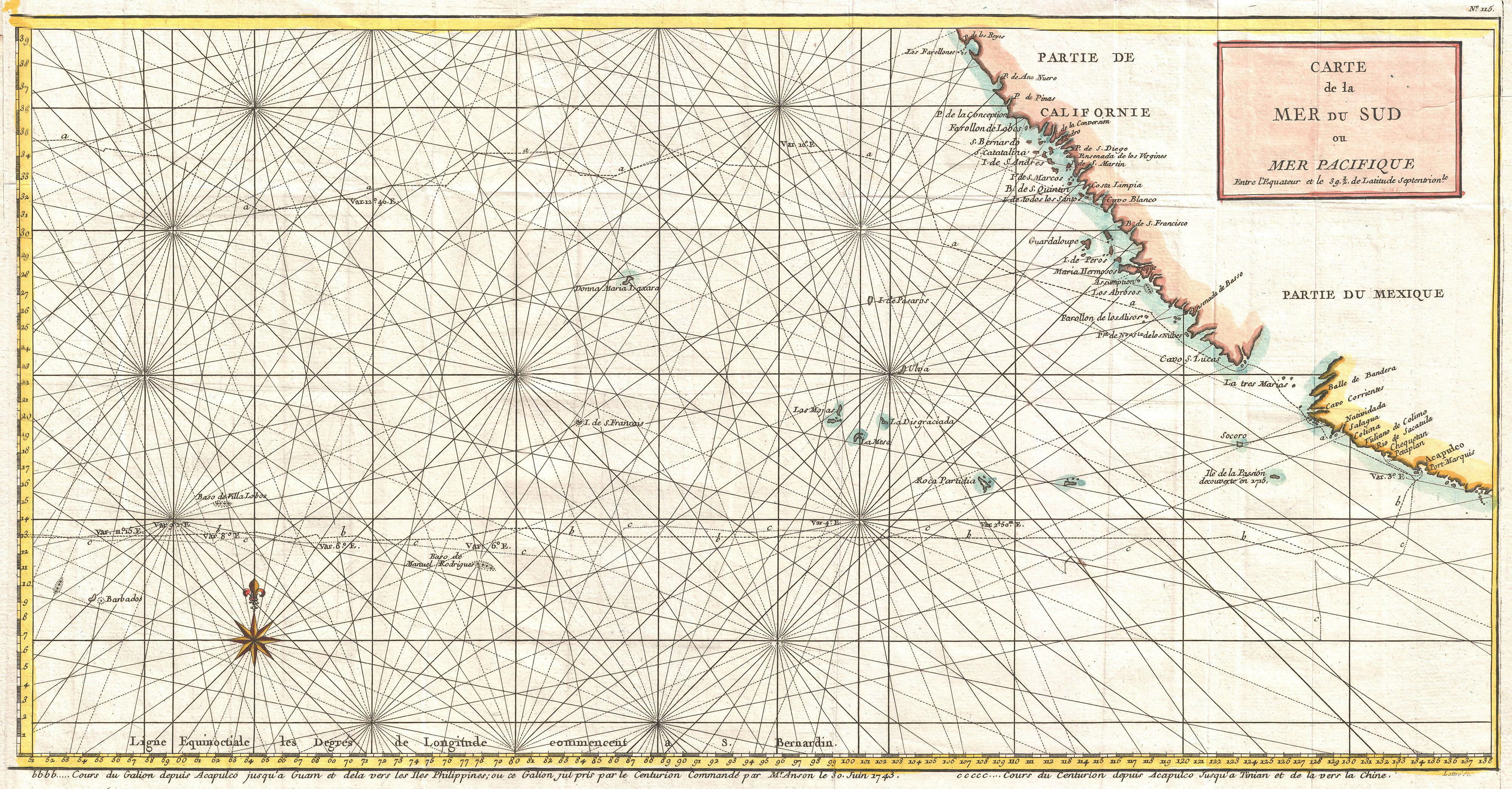 File1750 Anson Map Of Baja California And The Pacific W Trade Routes From