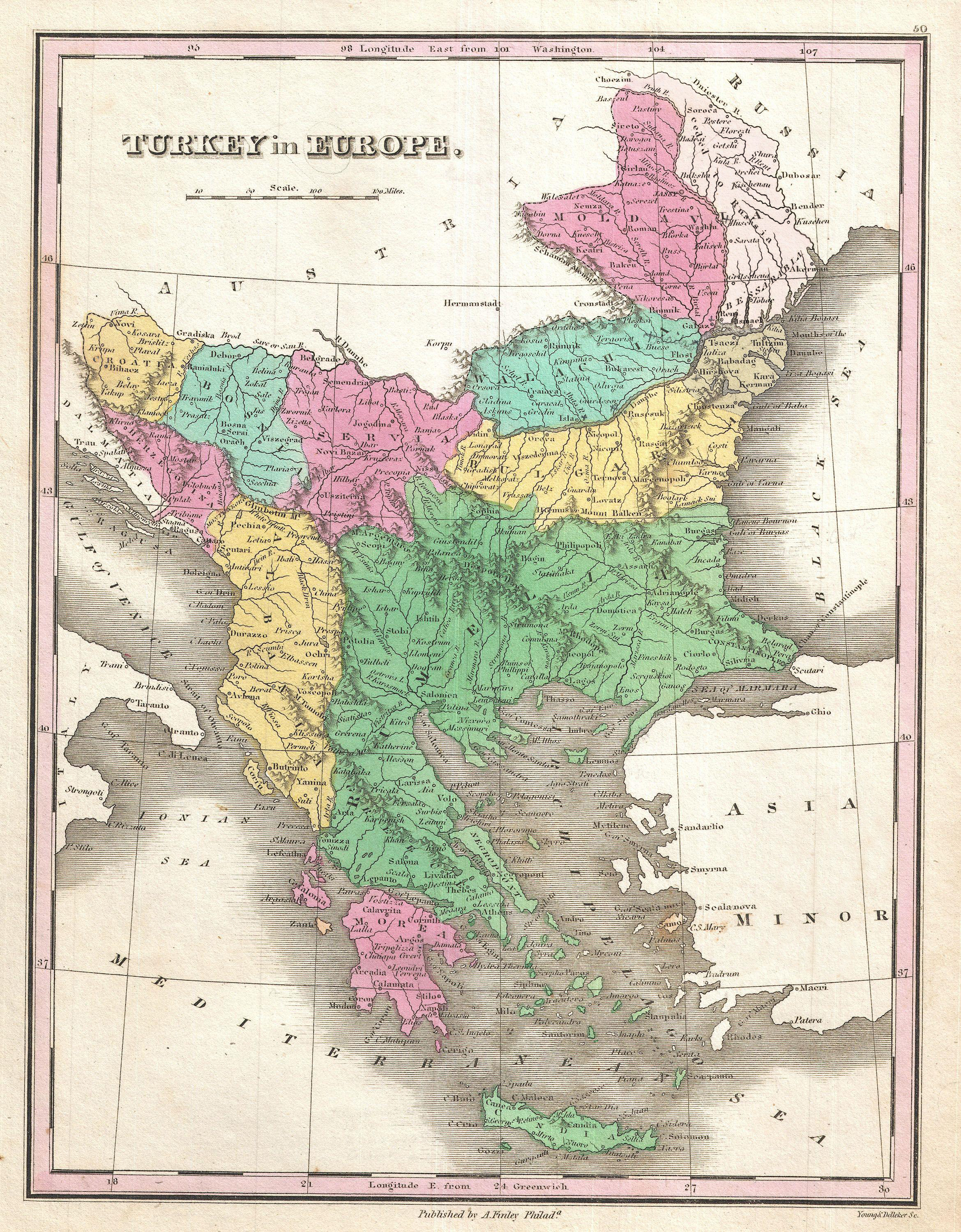 File1827 Finley Map of Turkey in Europe Greece and the Balkans