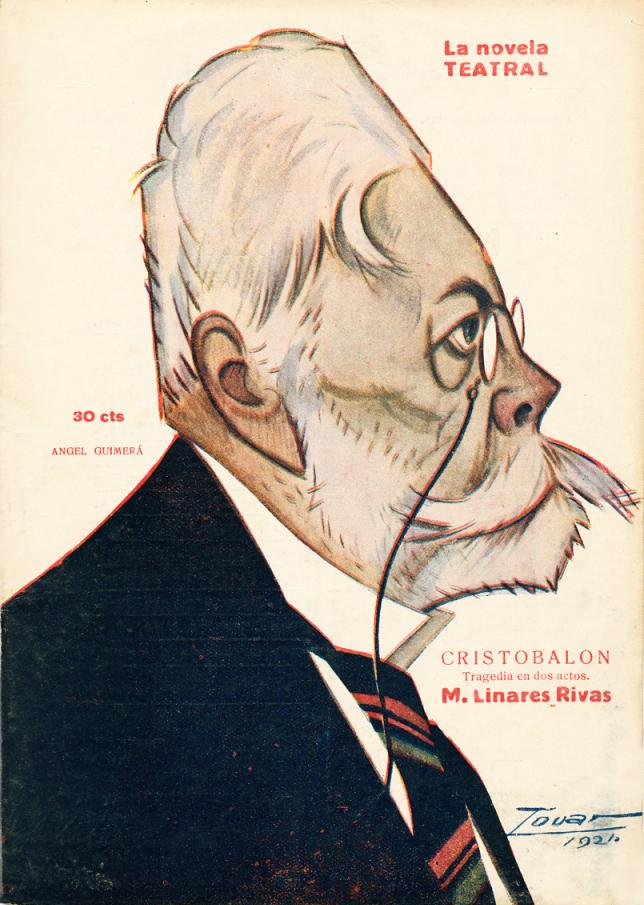 Caricaturizado en la portada de La Novela Teatral por Tovar (1921)