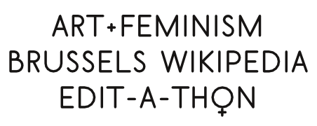 Identity for the 2015 Brussels Art+Feminism edit-a-thon, made with Scribus and OSP's font BELGIKA 8th