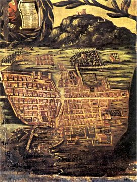 Map of Alcamo in a painting of 1725