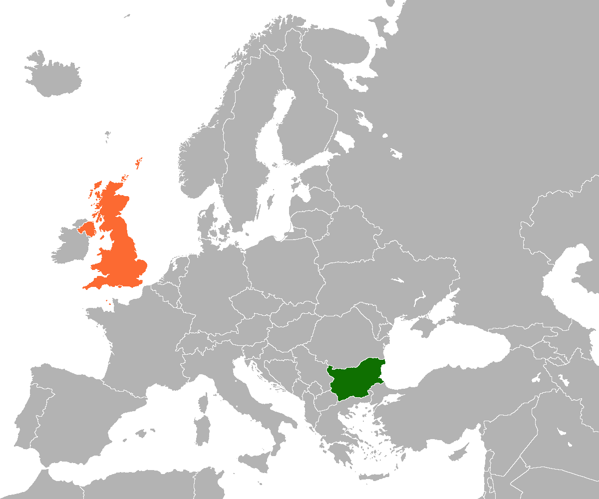 Map indicating locations of Bulgaria and United Kingdom