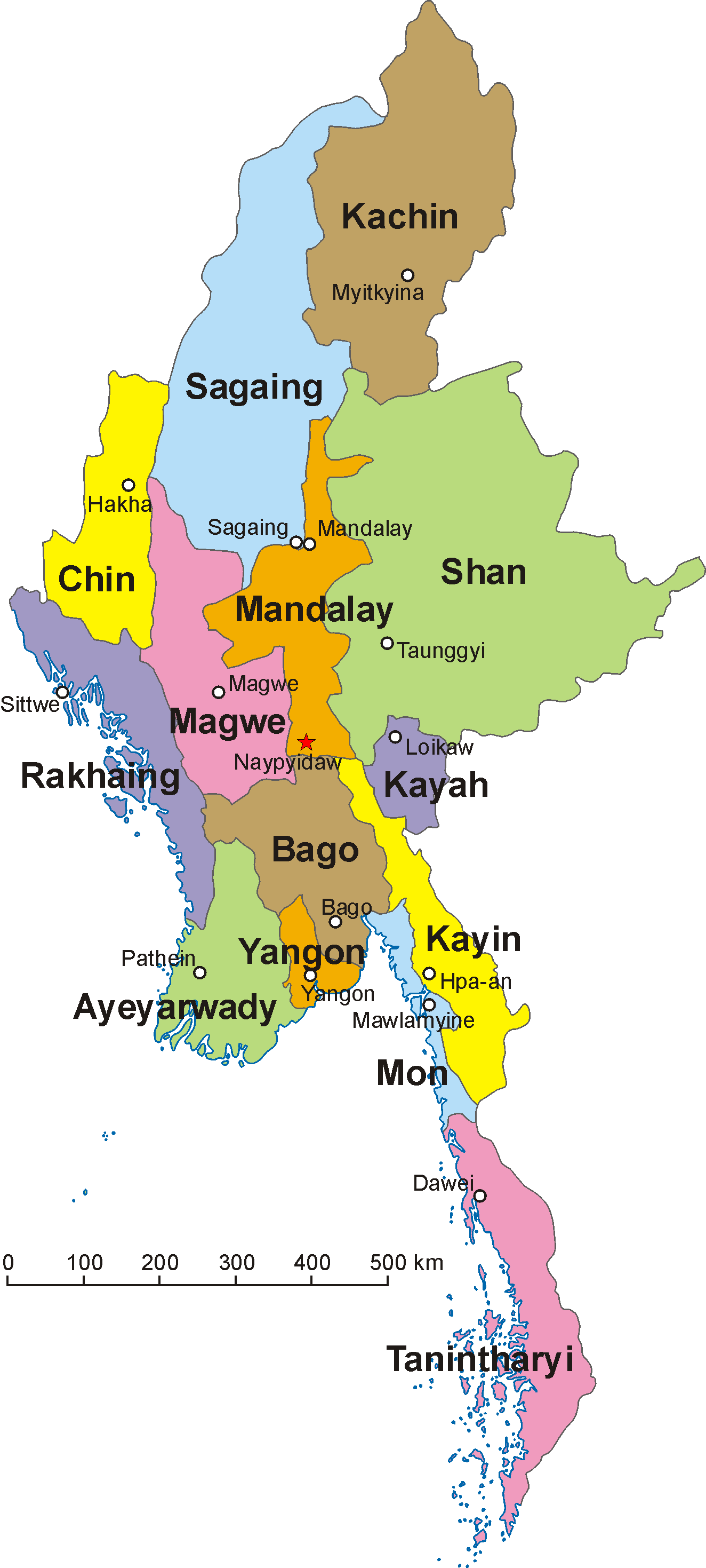 A clickable map of Burma/Myanmar exhibiting its first-level administrative divisions.