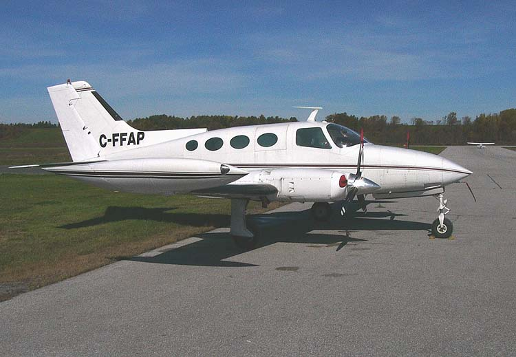 The 1967 model Cessna 402 showing the four oval windows characteristic of early 402s
