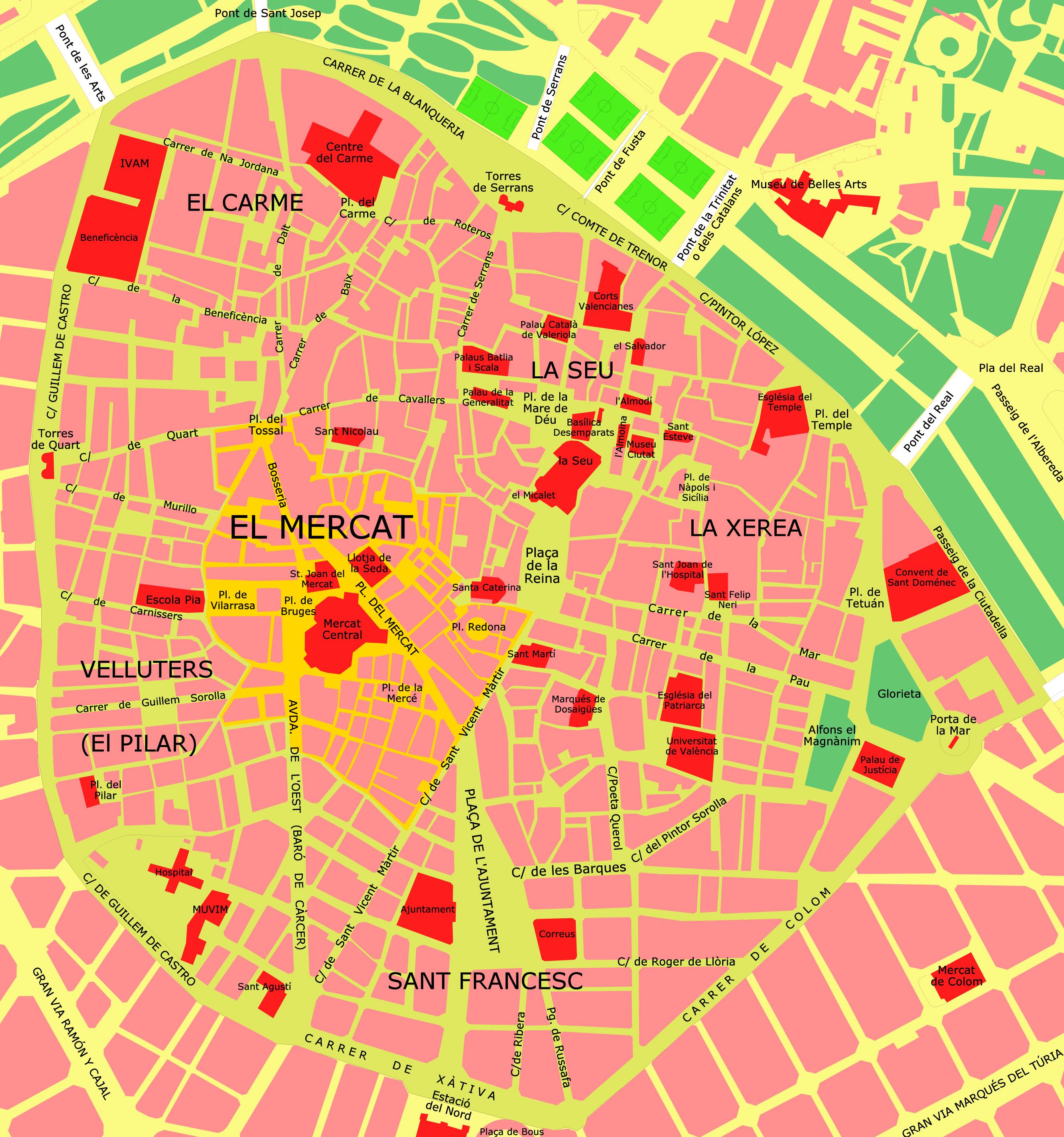 Аликанте старый город на карте