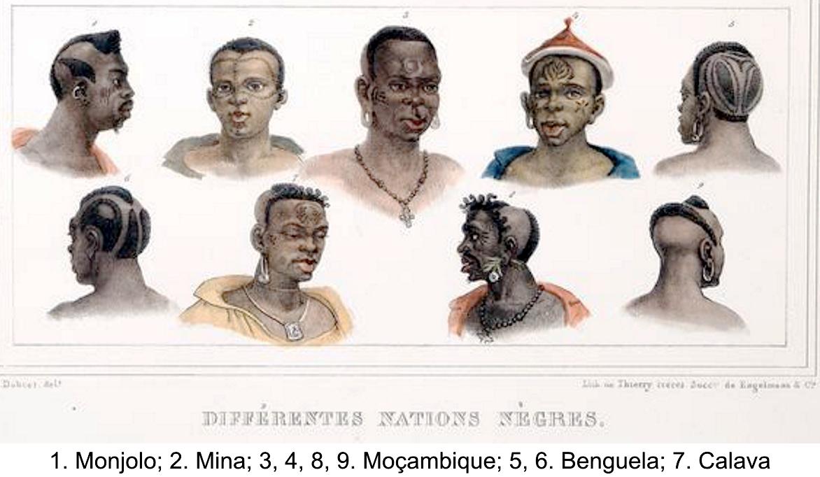 1. Monjolo; 2. Mina; 3,4,8 e 9. Mocambique; 5 e 6. Benguela; 7. Calava
