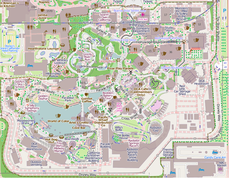 Map Of California Disney.File Disney California Adventure Map Openstreetmap Png Wikimedia