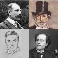 group of four images of head and shoulders shots of men, one with a moustache, one with a moustache and beard and the other two clean-shaven