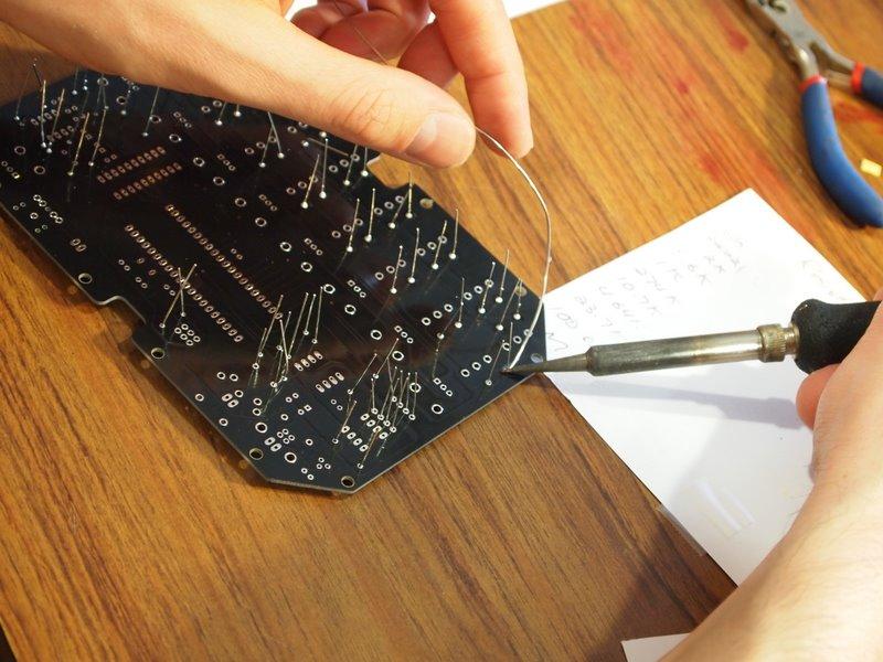 Eric Archer soldering a MeeBlip 6 - MeeBlip build session, Austin, TX, 2010-10-17