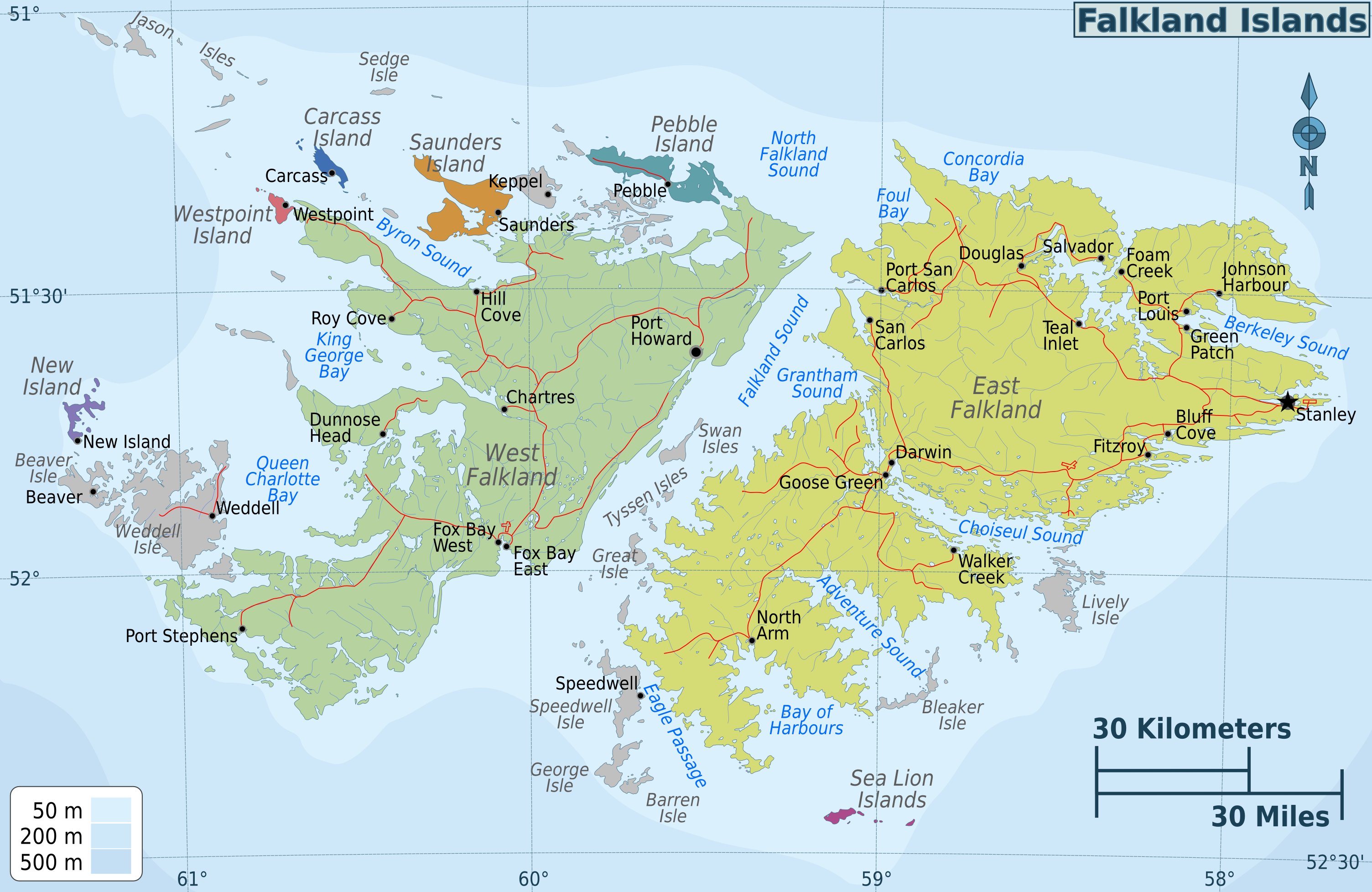 Map Of East Falkland Islands