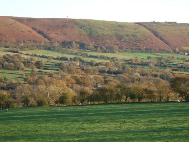 Farmland and Long Mynd - geograph.org.uk - 614201