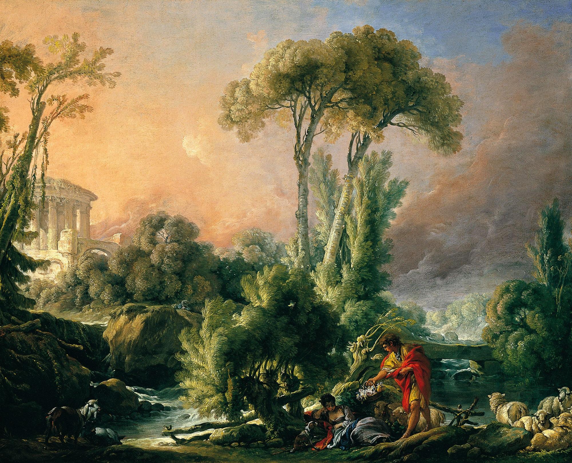 Paysage 2000 à file:françois boucher - paysage fluvial avec temple antique