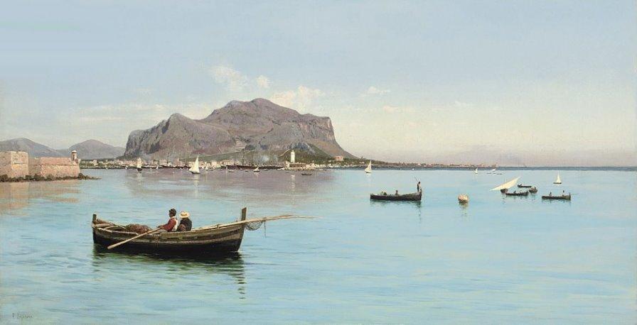 Monte Pellegrino au dessus du port de Palerme - Tableau de  Francesco Lojacono