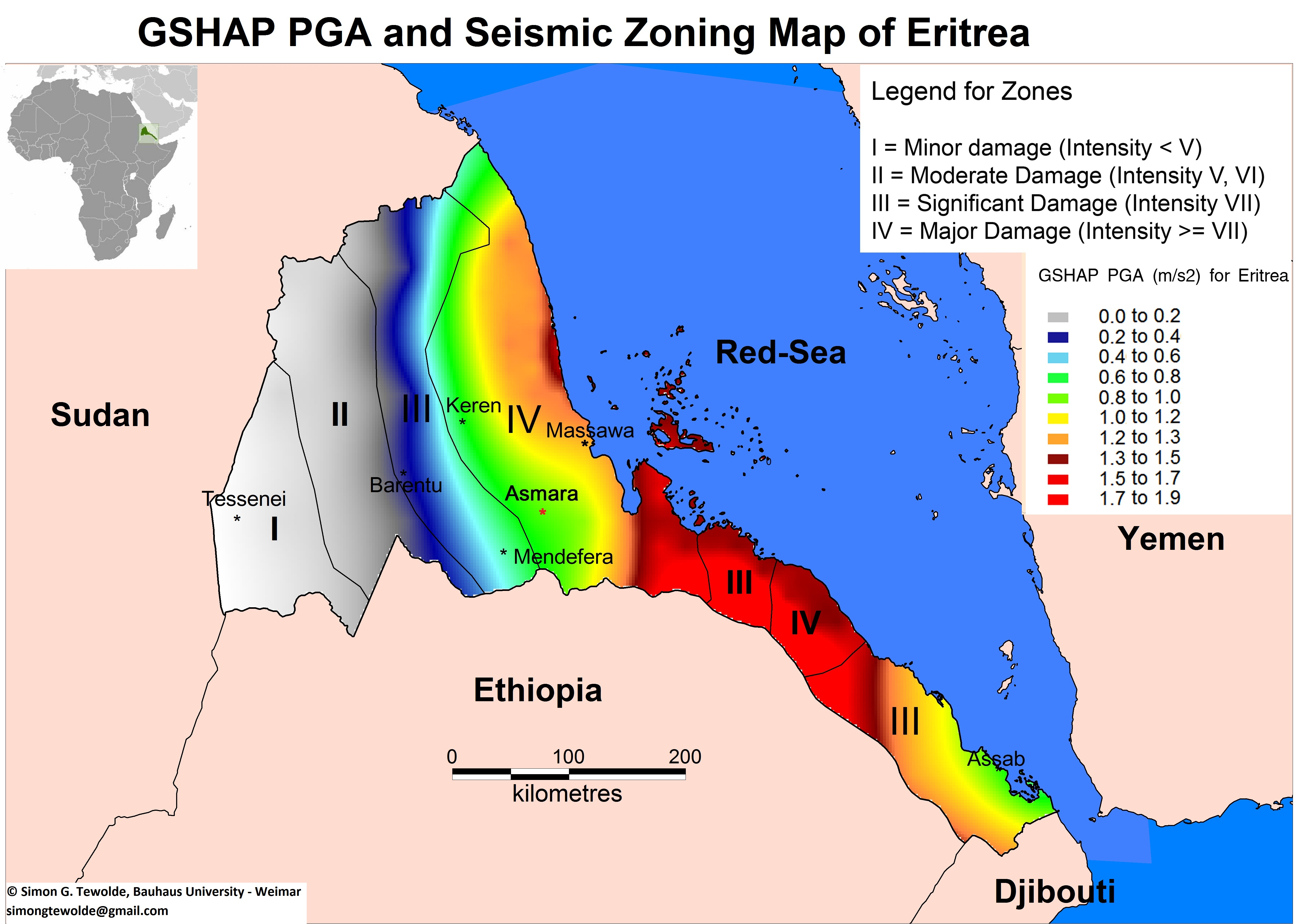FileGSHAP Peak Ground Acceleration And Seismic Zoning Map Of - Eritrea time zone map