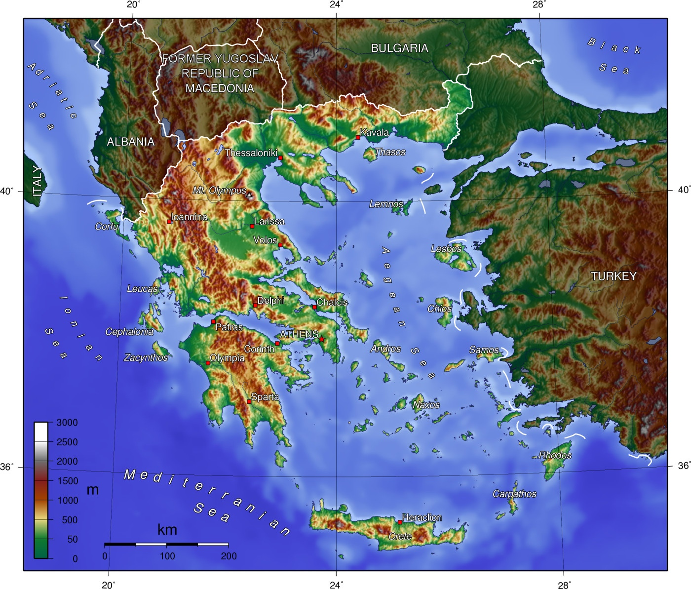 Topographic Map Greece   CYNDIIMENNA