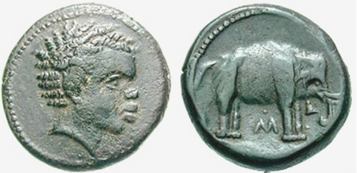 Moneta, Italia Centrale, Elefanti, Annibale.
