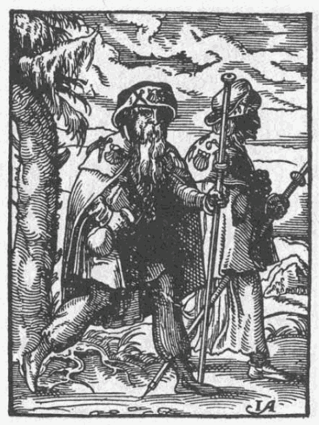 Pèlerin de Saint-Jacques-de-Compostelle avec sa besace, son bourdon et sa coquille Saint-Jacques fixée au chapeau, gravure de 1568.
