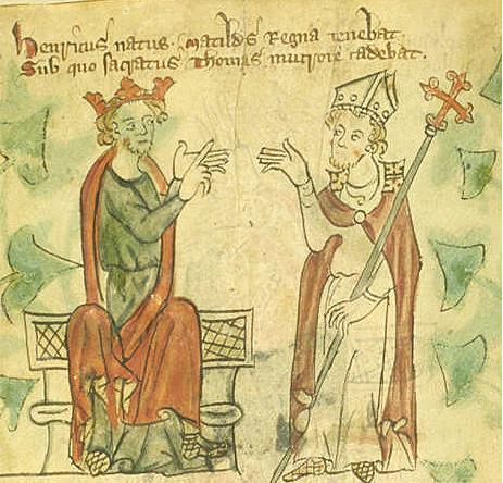 Генрих II и Томас Бекет. Миниатюра из хроники. Изображение из Википедии