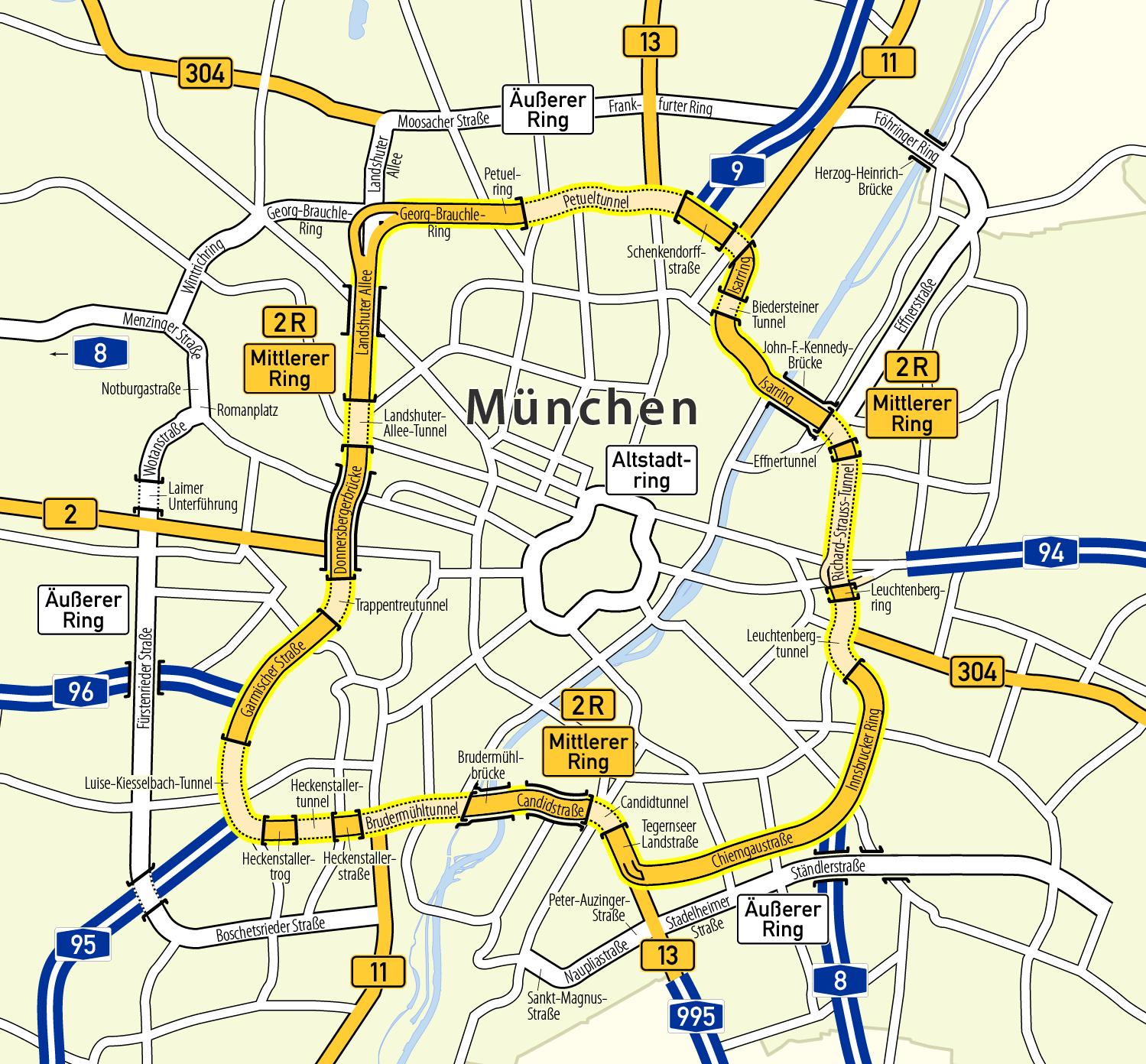 bundesstraßen karte File:Karte Mittlerer Ring München.png   Wikimedia Commons bundesstraßen karte