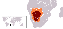 The Kalahari Desert (shown in maroon) & Kalahari Basin (orange)