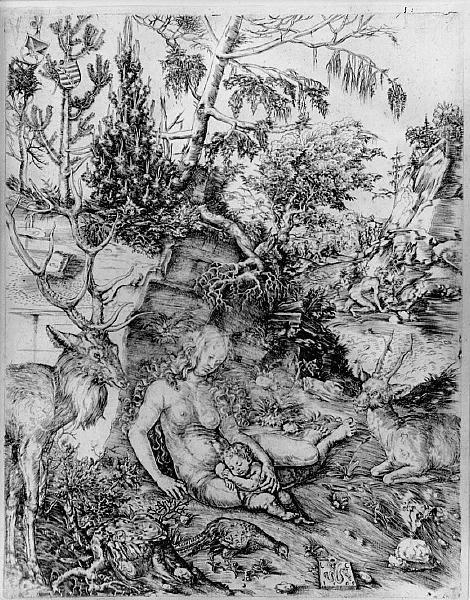Lucas Cranach den eldre (ca 1472-1553): Johannes Krysostomos' bot, radering, 1509. Helgenen kan ses i bakgrunnen på alle fire, mens prinsessen og deres barn dominerer forgrunnen.