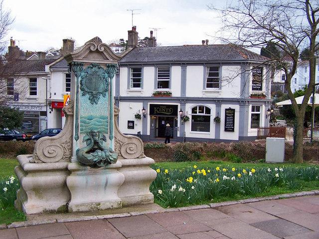 File:Memorial fountain and pub - geograph.org.uk - 1773363.jpg