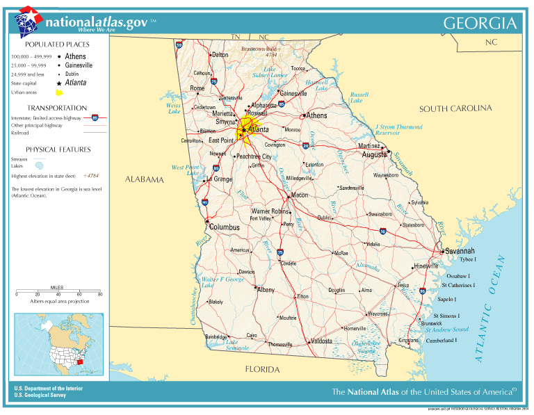 FileNationalatlasgeorgiaPNG Wikimedia Commons - Map of the state of georgia with cities