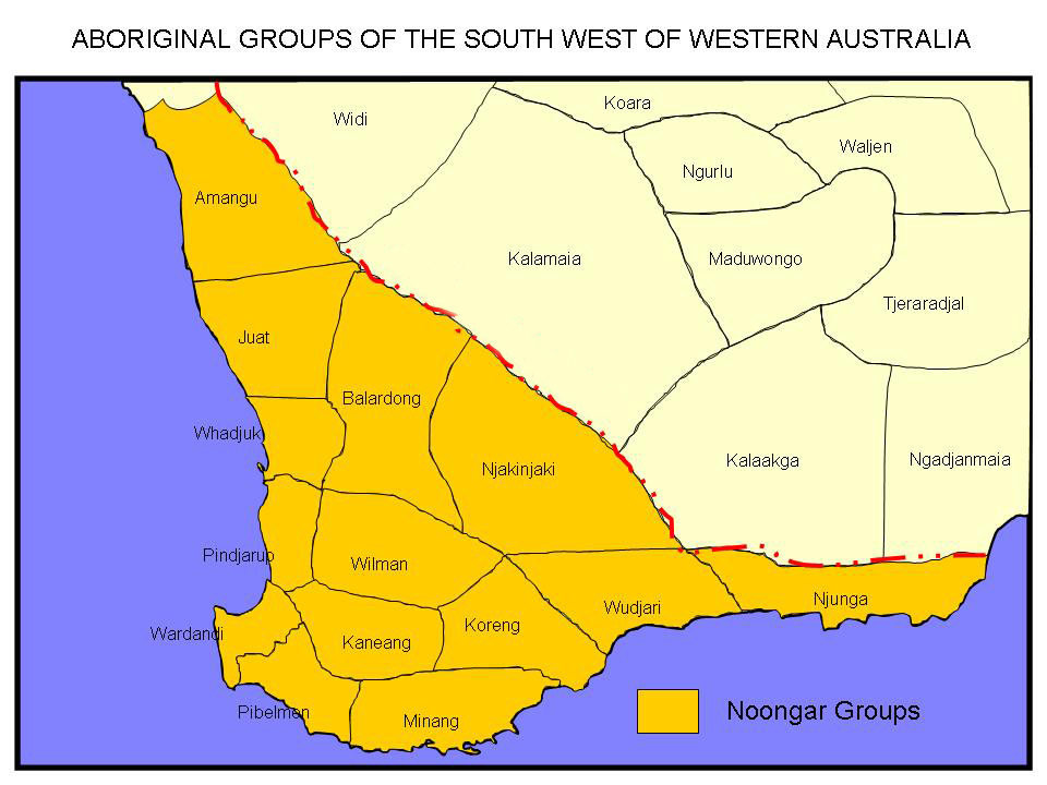 Southwest Australia Map.Whadjuk Wikipedia