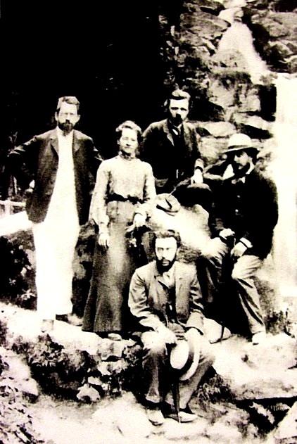 Группа основателей «Союза освобождения» в 1902г. в Германии (слева направо): Пётр Струве, Нина Струве, Василий Богучарский, Николай Бердяев и Семён Франк (внизу)