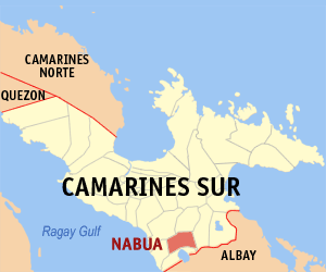Map of Camarines Sur showing the location of Nabua