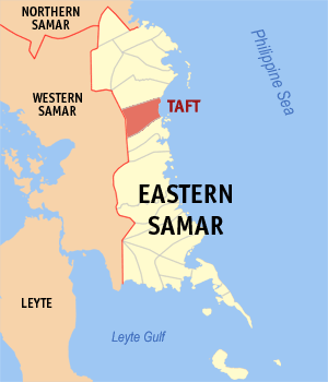 Map of Eastern Samar showing the location of Taft