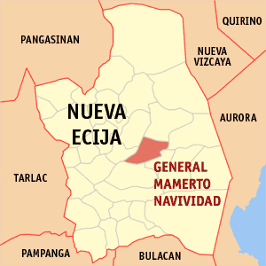Map of Nueva Ecija showing the location of General Mamerto Natividad