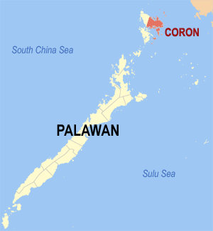 Map of Palawan showing the location of Coron