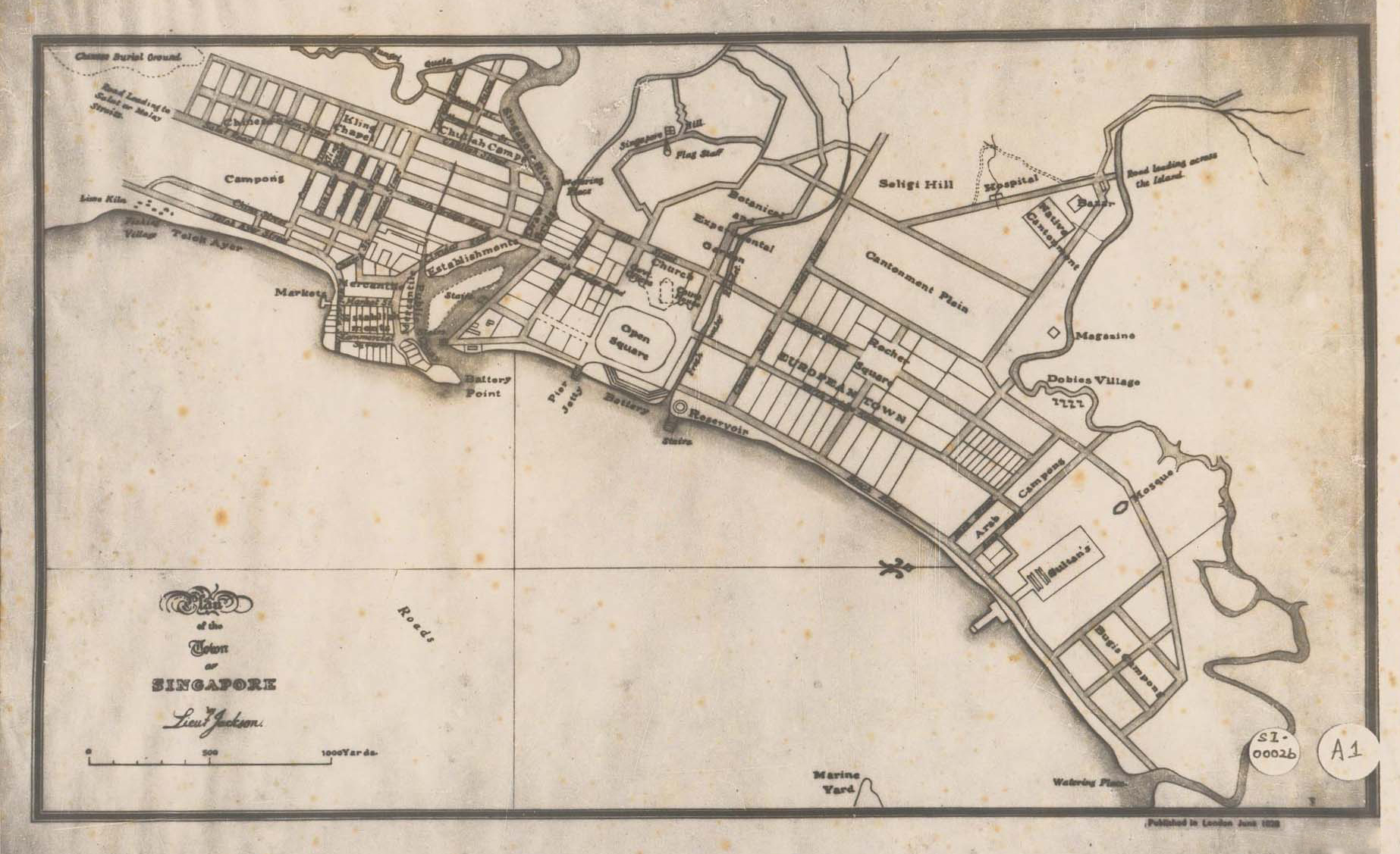 File:Plan of the Town of Singapore (1822) by Lieutenant Philip Jackson  original