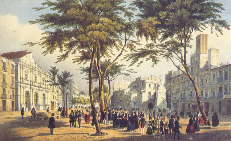 Rambla de Barcelone et théâtre en 1830 avant la plantation des marronniers.