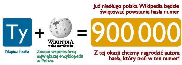Zostań autorem hasła nr 900 000 w polskiej Wikipedii!