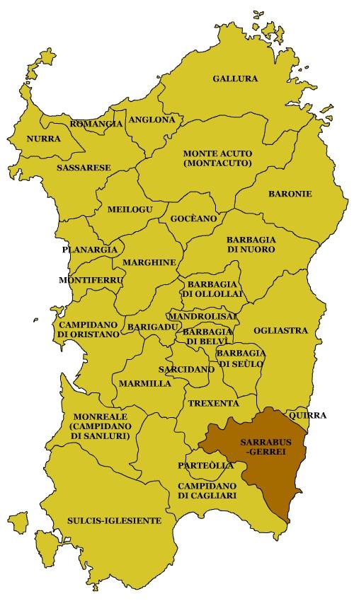 Mappa Sardegna Zona Cagliari.Sarrabus Gerrei Wikipedia