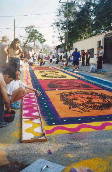 Sawdust carpets of Comayagua during Easter celebrations Saw dust carpet Comayagua Honduras (1).jpg