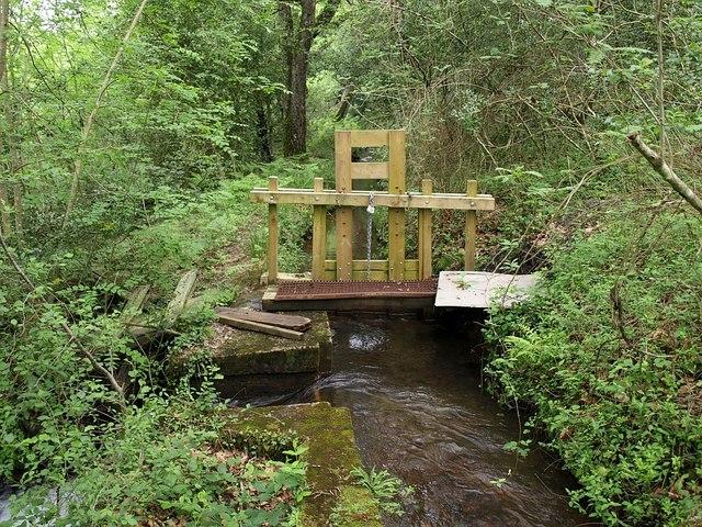 Sluice gate on leat in Yarner Wood - geograph.org.uk - 831776