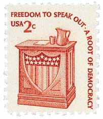 "File:Stamp US 1977 2-cents Americana.jpg ""Freedom to Speak Out - A Root of Democracy"""